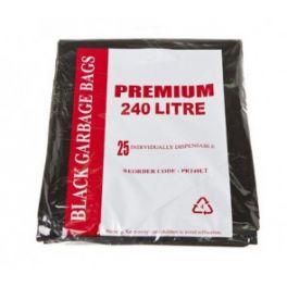 Heavy Duty Garbage Bags Black 240L 4x25's
