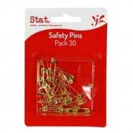 Safety Pins Gold 30 Pack